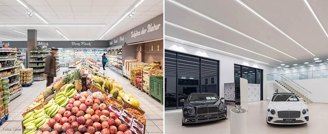 Beleuchtung Lebensmittel und Autoshowroom
