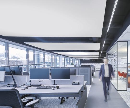 linearen Lichtsystemen in modernen Bürowelten.