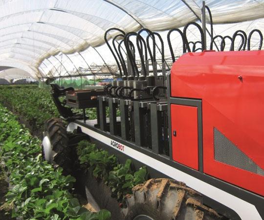 Beerenpflückmaschine - AGROBOT in Aktion mit Sensorik