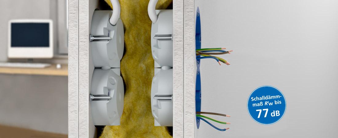 Geräte-Verbindungsdose für baulichen Schallschutz