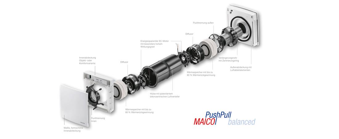 Einzelraumlüftungsgerät MAICO Maico Push Pull balanced