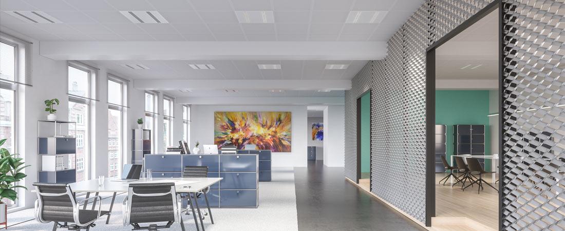 LTS Deckenleuchte Optico - Anwendungsbeispiel Büro